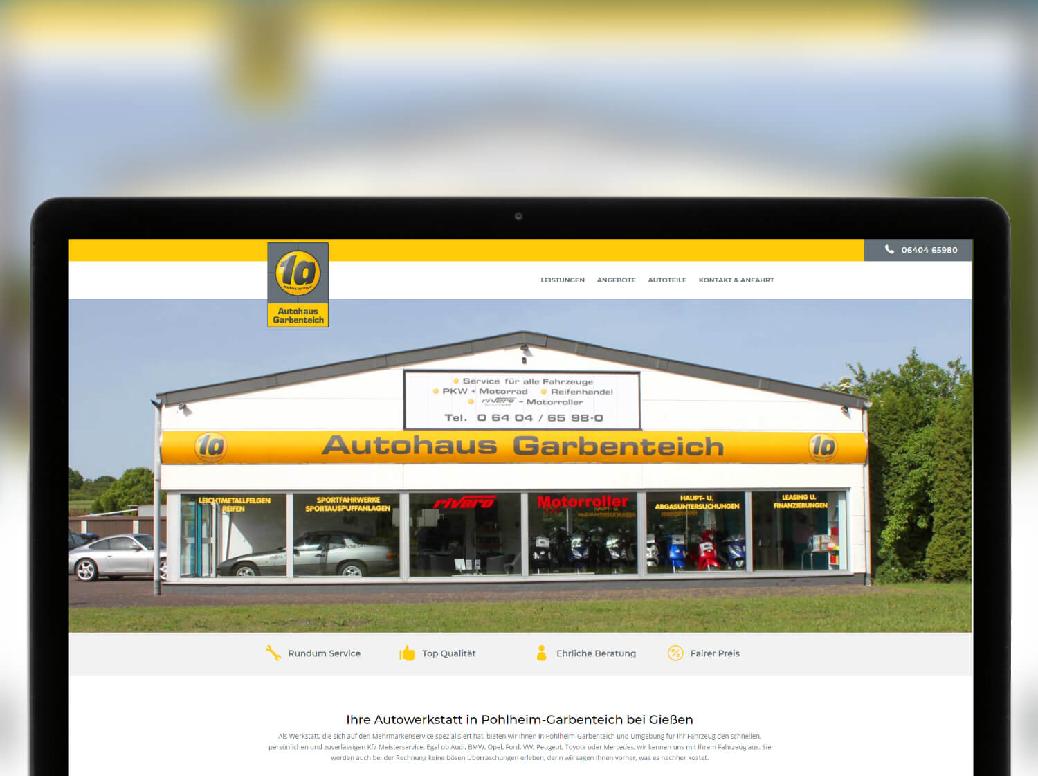 Screenshot Website Autohaus Garbenteich