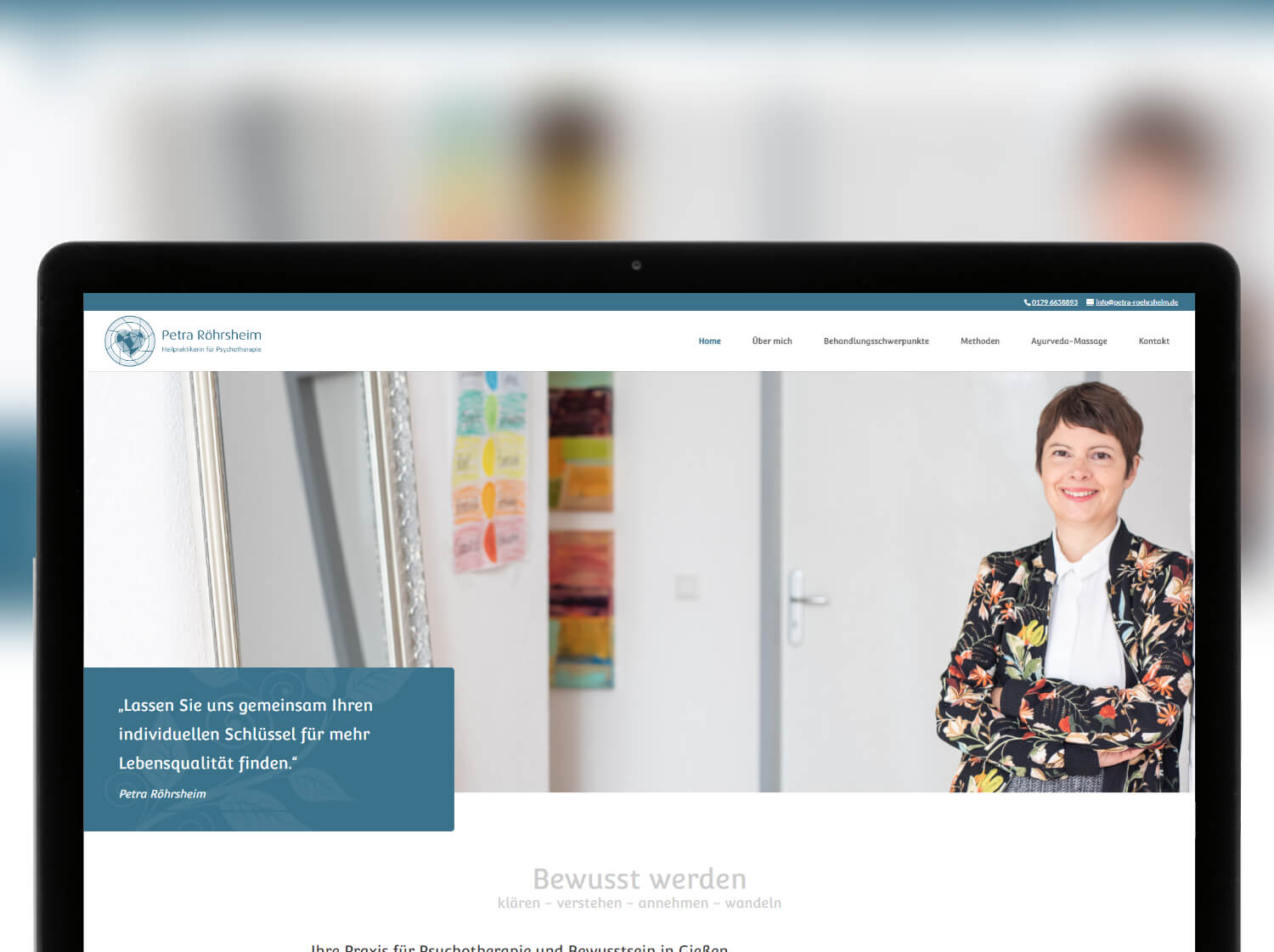 Screenshot von Website Petra Röhrsheim